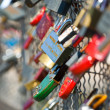 Many Love locks on the bridge, Bernatka, krakow — Stock Photo
