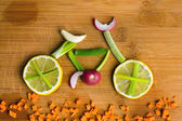 Healthy lifestyle concept - vegetable bike — 图库照片