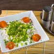Stock Photo: Bowl with fresh cottage cheese and chives