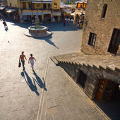 Hippocrates square in the historic Old Town of Rhodes Greece — Stock Photo