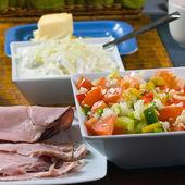 健康的早餐,桌子上关闭 — 图库照片