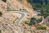 Winding mountain road, Rhodes, Greece — Stock Photo