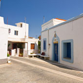 Color greek street, Rhodes, Greece — Stock Photo