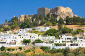 Mall greek street in Lindos, Rhodes, Greece — Stock Photo