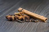 Cinnamon, cloves and anise — Stock Photo
