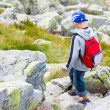 Boy  crossing a rocky path — Stock Photo