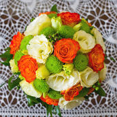Wedding bouquet of yellow and white and orange roses — Stock Photo