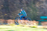 Mountain biking in a park - Young biker on a park biking trail going fast (motion blurred image) — Stok fotoğraf