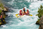 GREEN CANYON, TURKEY - JULY 10, 2010: White water rafting on the rapids of river Manavgat on July 10, 2009 in Green Canyon, Turkey. Manavgat River is one of the most popular among rafters in Turkey. — Stockfoto