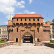 Gate to Krakow - the best preserved barbican in Europe, Poland — Stock Photo