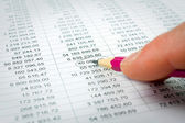 Verschillende financiële grafieken op de tafel — Stockfoto
