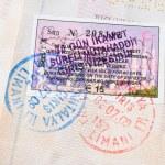 Fondo de sellos de pasaporte con varios países — Foto de Stock