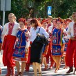 LOCHOW, POLAND -JUNE 25, 2011: The International Folklore Meetings Kupalnocka is a festival, which is listed in the calendar of cultural events Mazovia as colorful artists and public meetings devote — Stock Photo