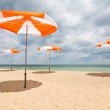 Beach umbrellas on sand beach. Concept for rest, relaxation, holidays, spa, resort. — Stock Photo #28300095