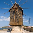 Old mill on the entrance of old Bulgarian town Nessebar  — Stock Photo