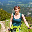 woman hiking in mountains — Foto Stock