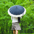 Woman under Rain with umbrella — Stock Photo