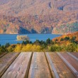 Stock Photo: Mountains landscape with wooden planks