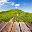 Mountains landscape with wooden planks — Stock Photo