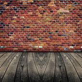 Altes zimmer mit ziegelmauer. bereit für produkt montage display. — Stockfoto