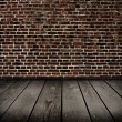 Old room with brick wall . Ready for product montage display.  — Stock Photo