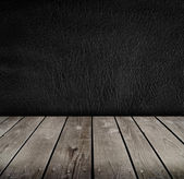 Empty room with black wall. Ready for product montage display. — Stock Photo
