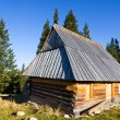 Shepherd wooden hut on meadow in autumn season, Tatry Mountains, Poland — Stock Photo #33306217