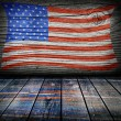 Empty interior room with american flag colors ready for product montage — Stok fotoğraf