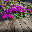 Violet flowers and empty wooden deck table. — Stock Photo #34204669