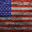 American flag on old brick wall Texture or background  — Foto Stock