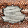 Stock Photo: Brick wall with hole and wooden board