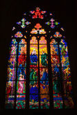 Stained glass windows of St. Vitus in Prague, Czech Republic. — Stock Photo