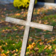 Stock Photo: Cross with crucified Jesus Christ at cemetery