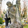 Statue in a cemetery at fall — Stock Photo