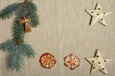 Christmas decoration over textile background — Stock Photo