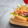 Stock Photo: Sandwich with ham, tomatoe and radish