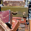 Pile of old vintage suitcases - luggage — Stock Photo