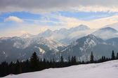 Winter view of frozen surface of High Tatra mountains — Stok fotoğraf