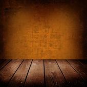 Ancienne salle avec brun mur et plancher en bois — Photo