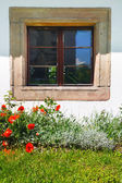 Window Decorated With Flowers  — Stock Photo
