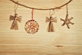 Christmas decoration on a wooden board  — Stock Photo