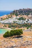 Lindos, castle above on the Greek Island of Rhodes  — Stock Photo