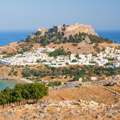 Lindos, castle above on the Greek Island of Rhodes  — Stockfoto