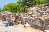 Ancient Greece walls and pillars in ruins archaeological site Kamiros Island of Rhodes Greece  — Photo