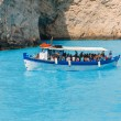 Zakynthos, Greece - June 01: Tourists at the Navagio Beach in Zakynthos, Greece on June 01, 2014. Navagio Beach is most popular attraction among tourists visiting the island of Zakynthos. — Stock Photo #50739235