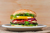 Homemade hamburger with fresh vegetables, close up — Stok fotoğraf