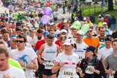 KRAKOW, POLAND - MAY 18 : Cracovia Marathon. Runners on the city streets on May 18, 2014 in Krakow, POLAND  — Stock Photo