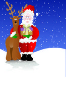 Santa with his Arm Around a Reindeer — Stock Vector