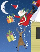 Santa Falls Off a Roof — Vetorial Stock
