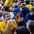 Stock Photo: KIEV, UKRAINE - JUNE 10: Cheering Sweden and Ukrainifans have